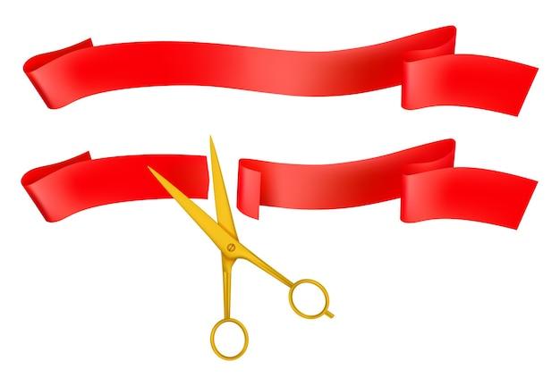 Große öffnung isolierte ikone der goldenen schere, die rotes band schneidet.