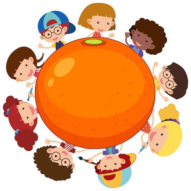 Große orange mit vielen kinderzeichentrickfiguren