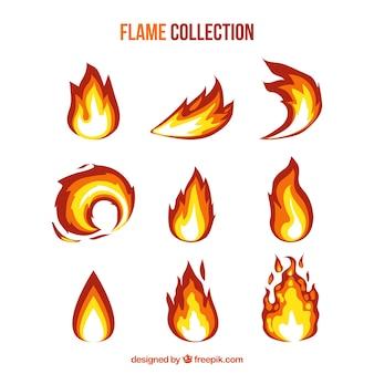 Große packung von flachen flammen