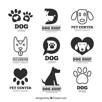 Große packung von flachen logos mit hunden und spuren