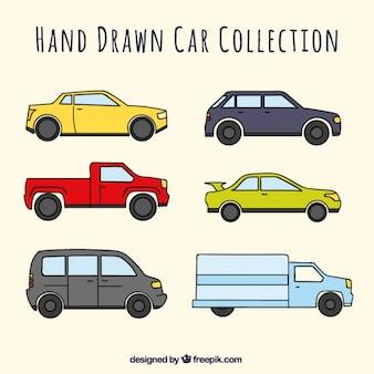 Große packung von sechs handgezeichnete autos