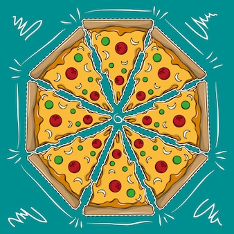 Große pizza-karikatur