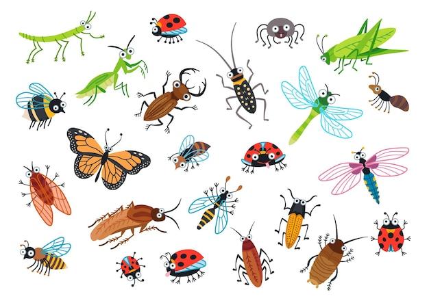 Große reihe von cartoon-käfern. cartoon-bug-charaktere isoliert