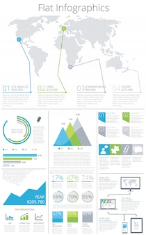 Große reihe von flachen infografik elemente vektor-illustration