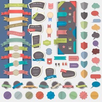 Große reihe von gestaltungselementen: etiketten, bänder, abzeichen, medaillen und sprechblasen