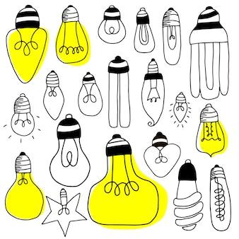 Große reihe von glühbirnen