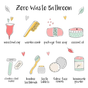 Große reihe von handgezeichneten zero-waste-symbolen für das badezimmer.