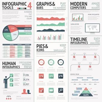 Große reihe von infografik-elementen, rot, grün vektor