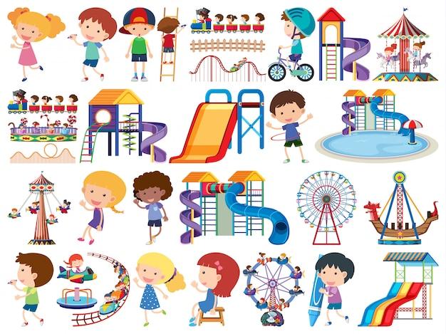 Große reihe von isolierten objekten von kindern und zirkus