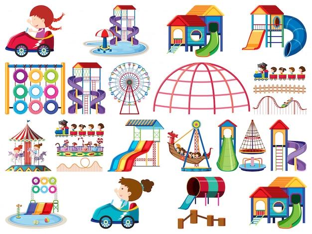 Große reihe von isolierten objekten von kindern