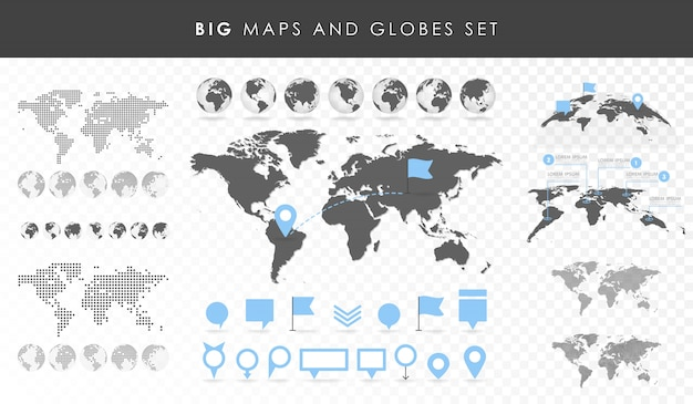 Große reihe von karten und globen.