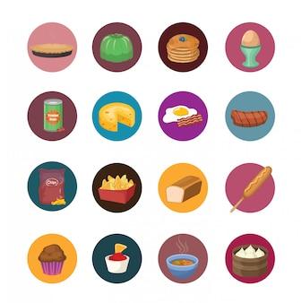 Große reihe von lebensmitteln icons