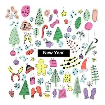Große reihe von neujahrs- und weihnachtssymbolen in farbe nette handgezeichnete vektorillustration