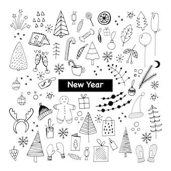 Große reihe von neujahrs- und weihnachtssymbolen nette handgezeichnete vektorillustration winterelemente