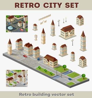 Große reihe von retro-gebäuden und strukturen der städtischen infrastruktur. landschaften und landschaft im retro-stil.