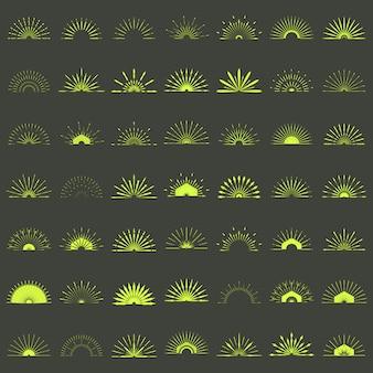 Große reihe von retro sunburst formen
