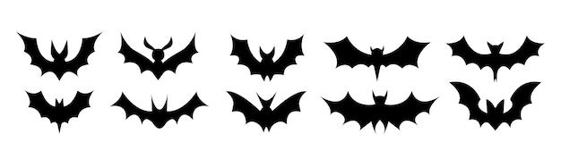 Große reihe von schwarzen silhouetten von fledermäusen, vektor isoliert auf weißem hintergrund