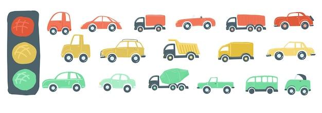 Große reihe von spielzeugautos flache einfache cartoon-stil handzeichnung vektor-illustration