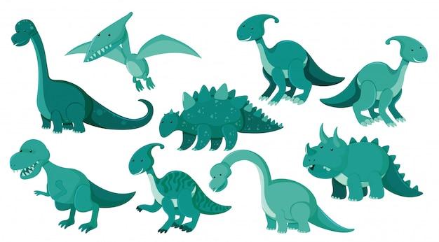 Große reihe von verschiedenen arten von dinosauriern
