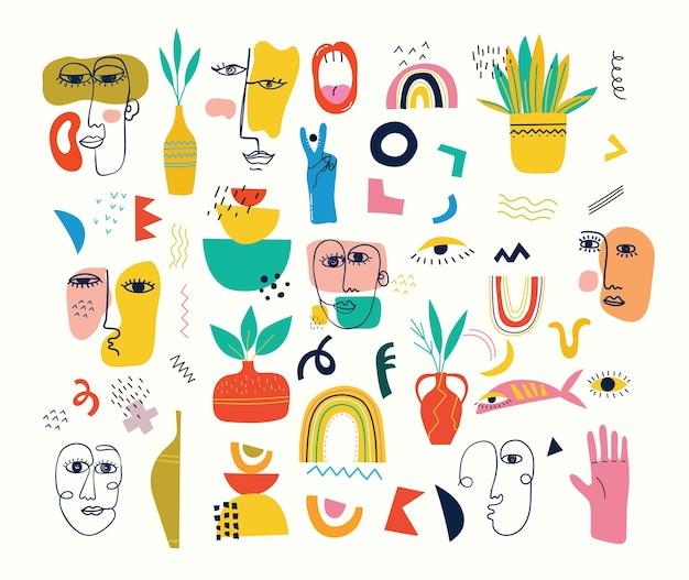 Große reihe von verschiedenen farbigen vektor-illustrationsplakaten im flachen design der karikatur. handgezeichnete abstrakte formen, lustige comic-figuren.