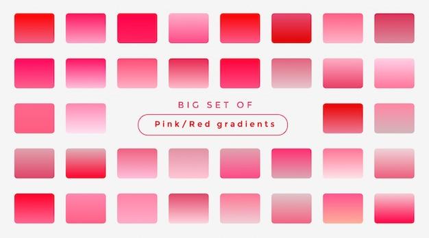 Große reihe von weichen rosa farbverläufen