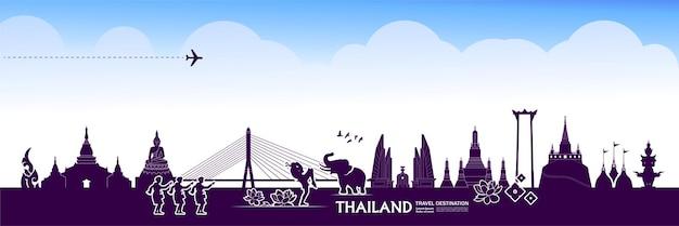 Große reisevektorillustration des thailand-reiseziels.