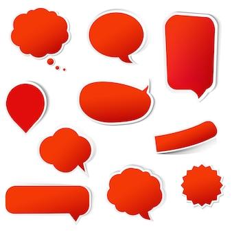 Große rote etiketten, die mit gradientennetz auf weißer hintergrundillustration lokalisiert werden