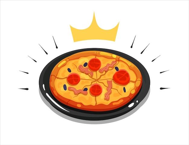 Große runde pizzakarikaturvektorikonenillustration