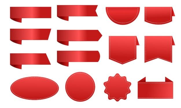 Große sammlung des roten bandaufkleberpreisschild-rabattes