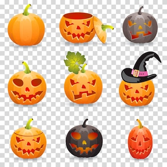 Große sammlung halloween-kürbis jack o'lantern, auf transparentem hintergrund, vektorillustration
