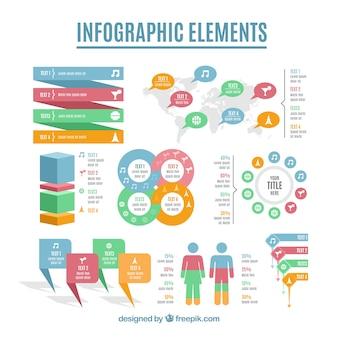 Große sammlung infographic elemente