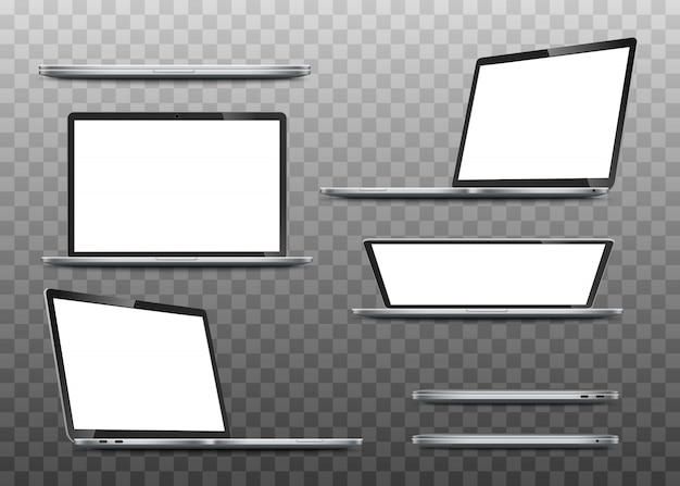 Große sammlung modelle realistischer laptops.