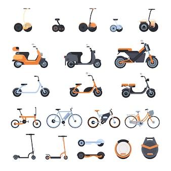 Große sammlung moderner öko-transportelemente: elektrische fahrräder, roller, monowheel und gyroscooter lokalisiert