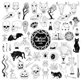 Große sammlung mystischer okkulter und mysteriöser gegenstände vektor handgezeichnete schwarze illustrationen