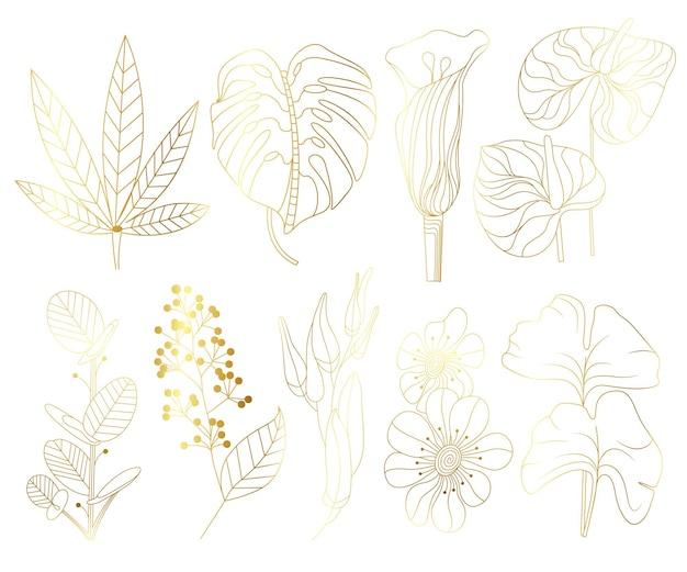 Große sammlung tropischer blätter in goldfarbe. palmblätter, ventilator, banane, kokospalmenblätter, isoliert auf weißem hintergrund. vektor-illustration