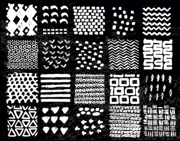 Große sammlung verschiedener hausgemachter texturen mit tinte auf schwarzem hintergrund