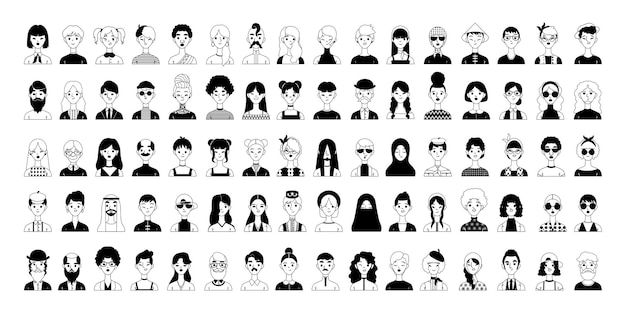 Große sammlung von avataren. lustige und ernste charaktere im cartoon-stil. schwarz-weiß-grafiken.
