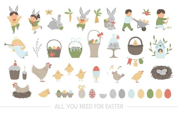 Große sammlung von designelementen für ostern. set mit niedlichen hasen, kindern, bunten eiern, zwitschernden vögeln, küken, körben. lustige illustration des frühlings.