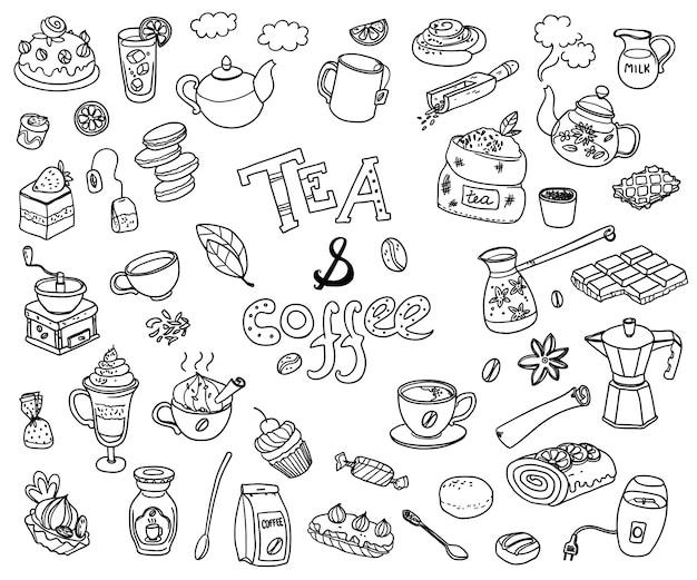 Große sammlung von doodle tae und kaffee.