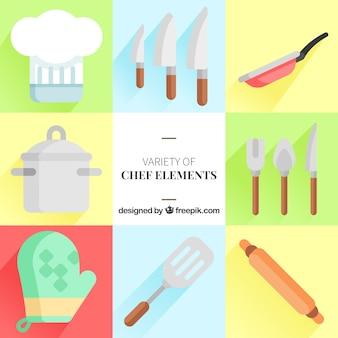 Große sammlung von flachen chef-elementen