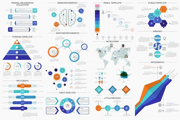 Große sammlung von flachen, minimalen infografik-vorlagen