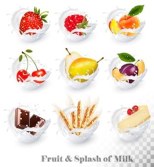 Große sammlung von früchten in einem milchspritzer. erdbeere, himbeere, pflaume, birne, pfirsich, kirsche, schokolade, käsekuchen, weizenähren. vektorsatz 16.