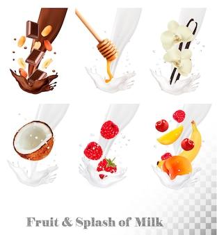 Große sammlung von früchten und beeren in einem milchspritzer. himbeere, banane, pfirsich, honig, nuss, schokolade, kirsche. einstellen .