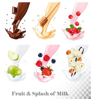 Große sammlung von früchten und beeren in einem milchspritzer. himbeere, erdbeere, honig, nuss, schokolade, blaubeere, nüsse, kuhbeere, apfel. einstellen
