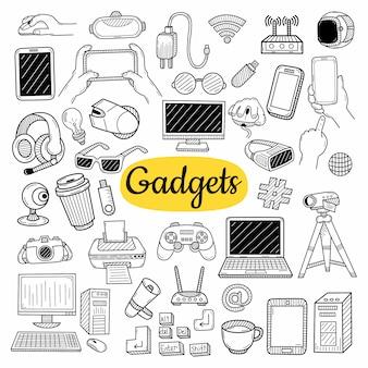 Große sammlung von gadget-elementen. hand gezeichnete skizze
