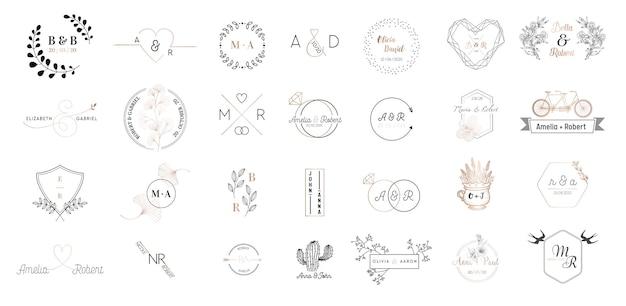 Große sammlung von hochzeits-monogramm-logos, handgezeichnete moderne minimalistische und florale vorlagen für einladungskarten, save the date, elegante identität für restaurant, boutique, café in vektor