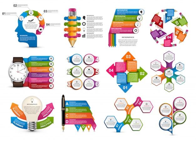 Große sammlung von infografiken.