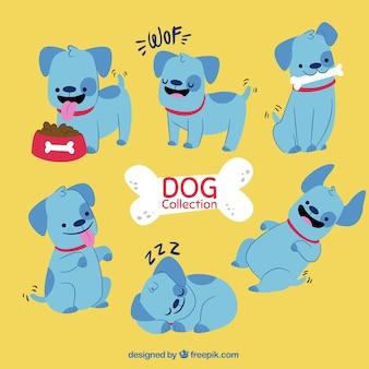 Große sammlung von lustigen blauen hund