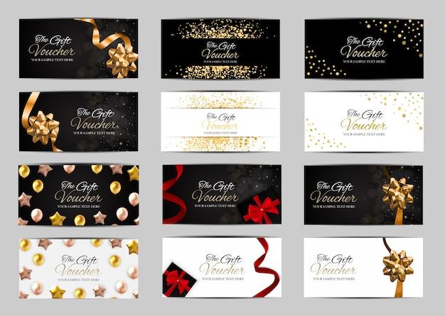 Große sammlung von luxusmitgliedern, geschenkkartenvorlage für ihr unternehmen