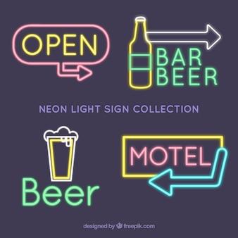 Große sammlung von neonlicht zeichen für betriebe